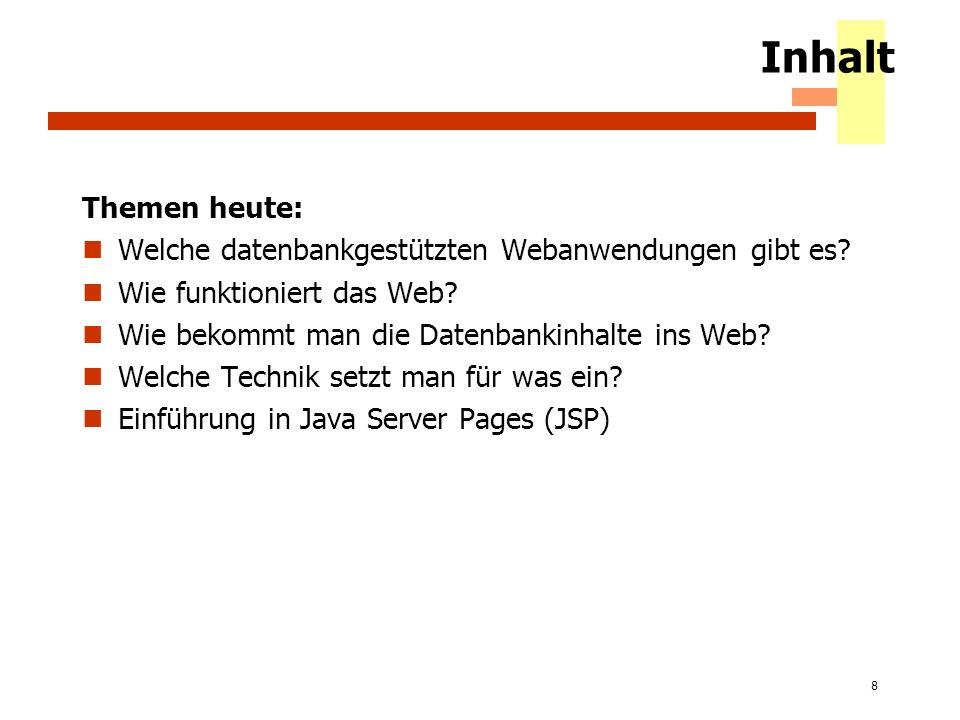 Inhalt Themen heute: Welche datenbankgestützten Webanwendungen gibt es Wie funktioniert das Web