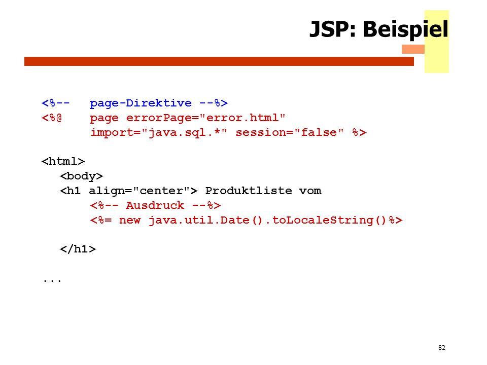 JSP: Beispiel <%-- page-Direktive --%>