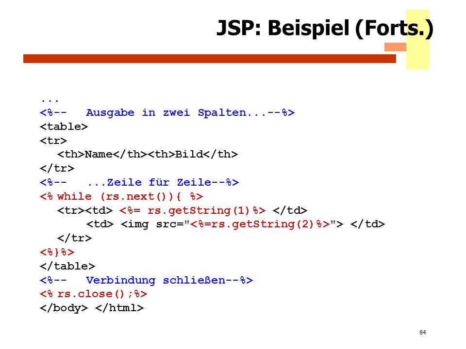 JSP: Beispiel (Forts.) ... <%-- Ausgabe in zwei Spalten...--%>