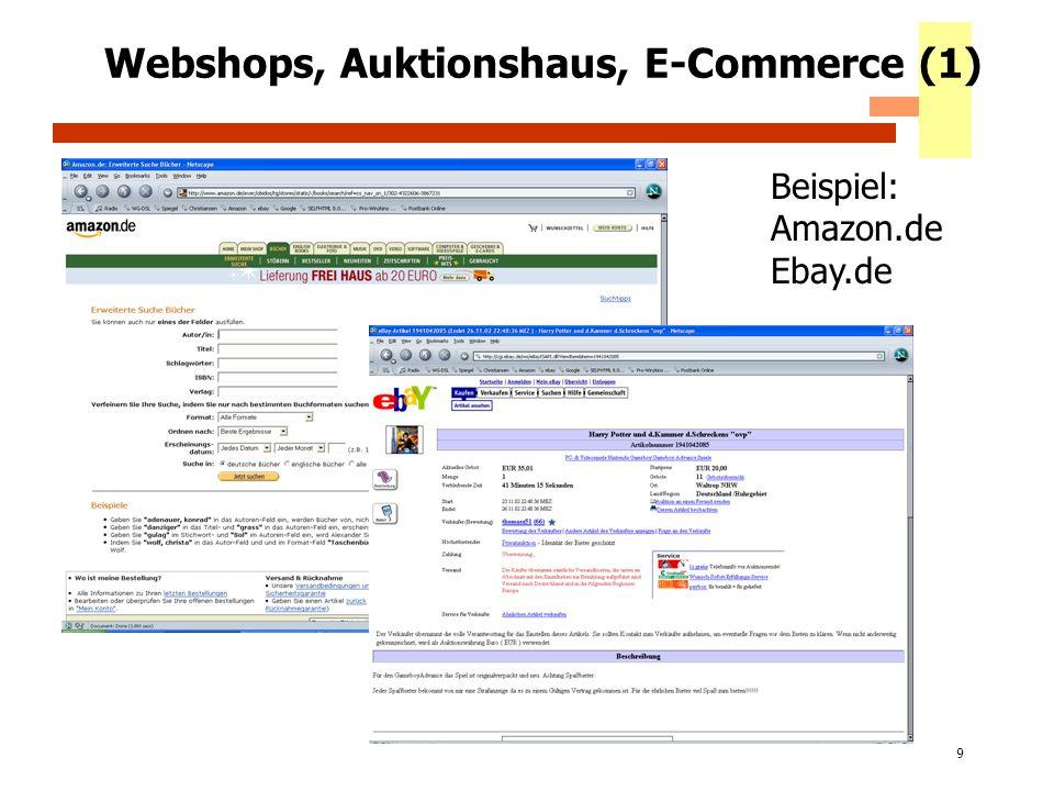 Webshops, Auktionshaus, E-Commerce (1)