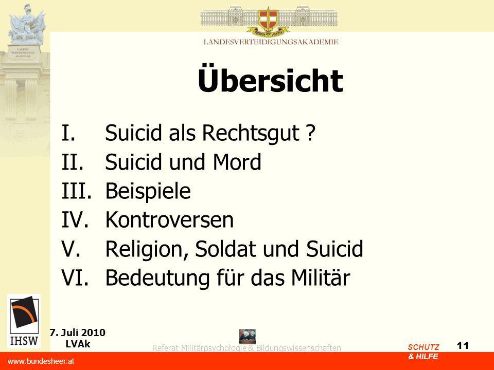 Übersicht Suicid als Rechtsgut Suicid und Mord Beispiele