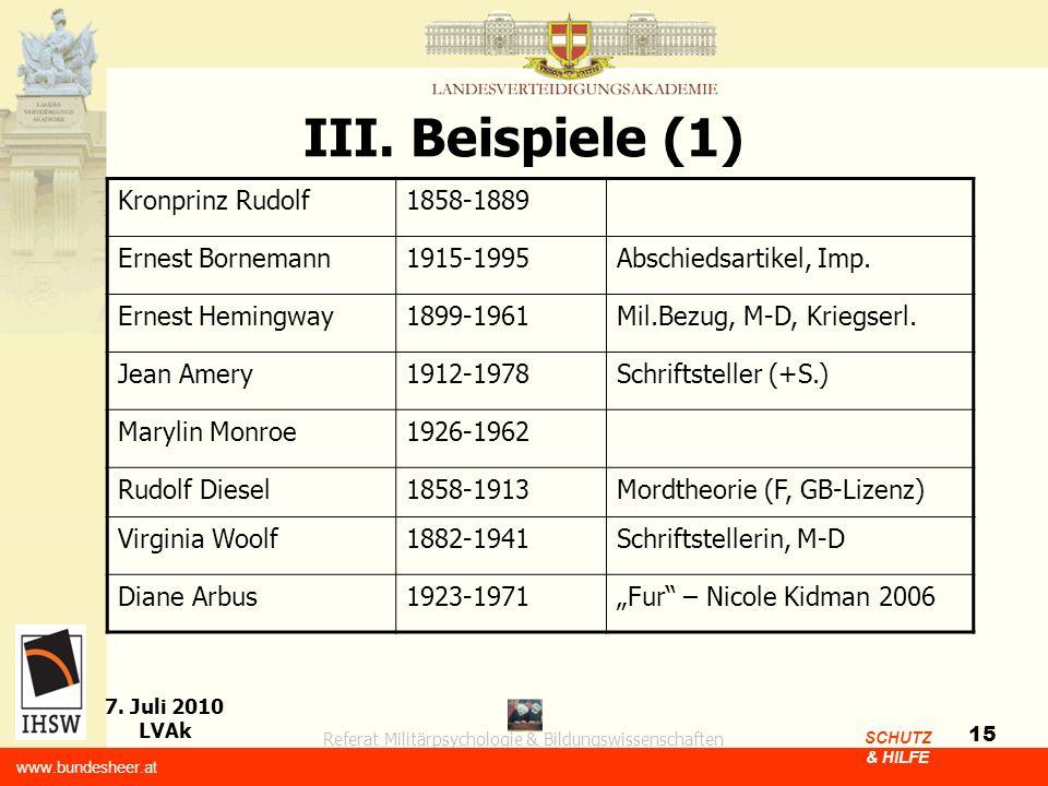 III. Beispiele (1) Kronprinz Rudolf 1858-1889 Ernest Bornemann