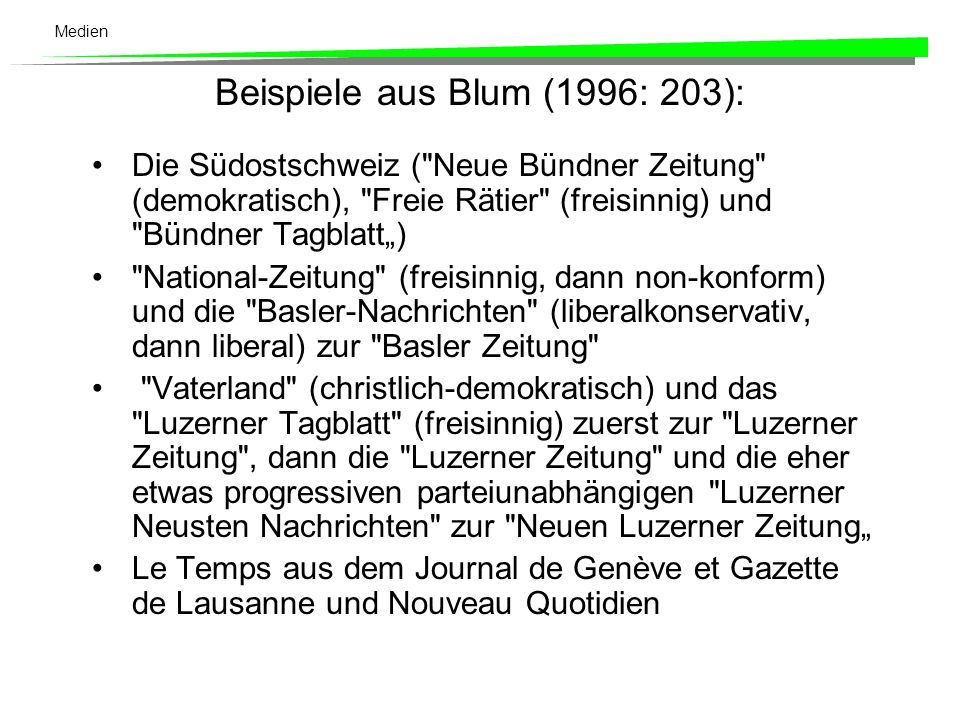 Beispiele aus Blum (1996: 203):