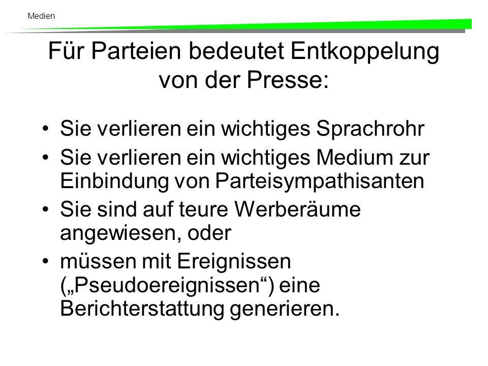 Für Parteien bedeutet Entkoppelung von der Presse: