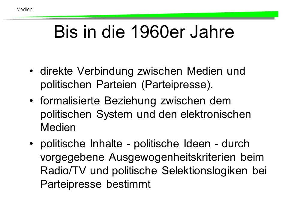 Bis in die 1960er Jahre direkte Verbindung zwischen Medien und politischen Parteien (Parteipresse).