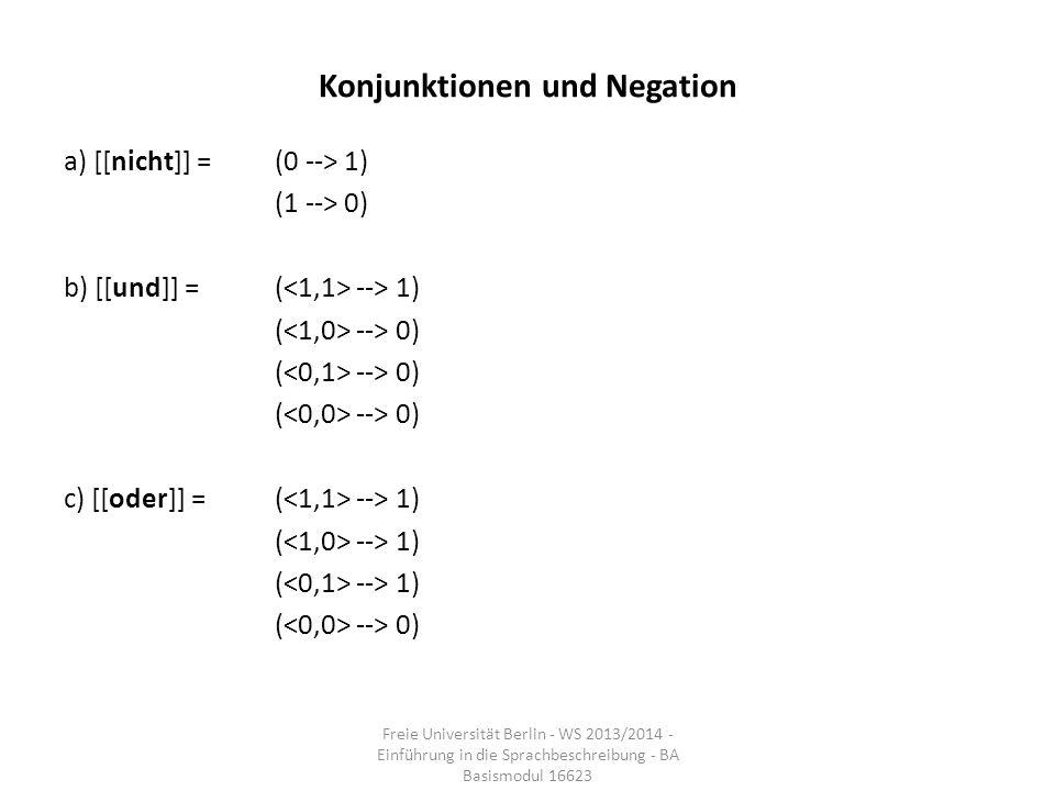 Konjunktionen und Negation