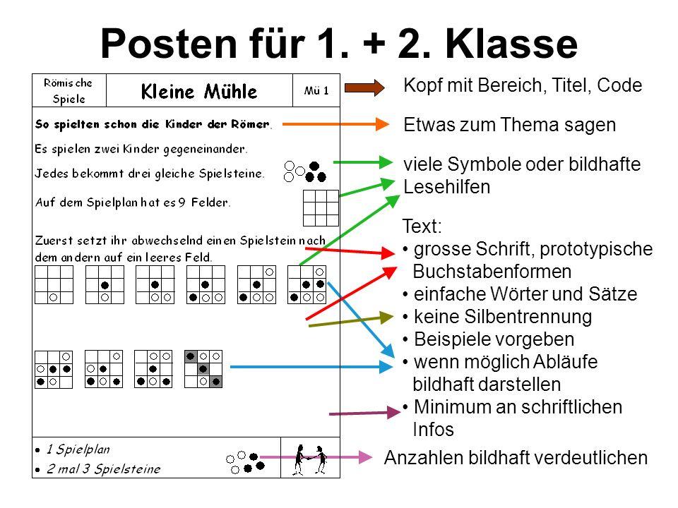 Posten für 1. + 2. Klasse Kopf mit Bereich, Titel, Code