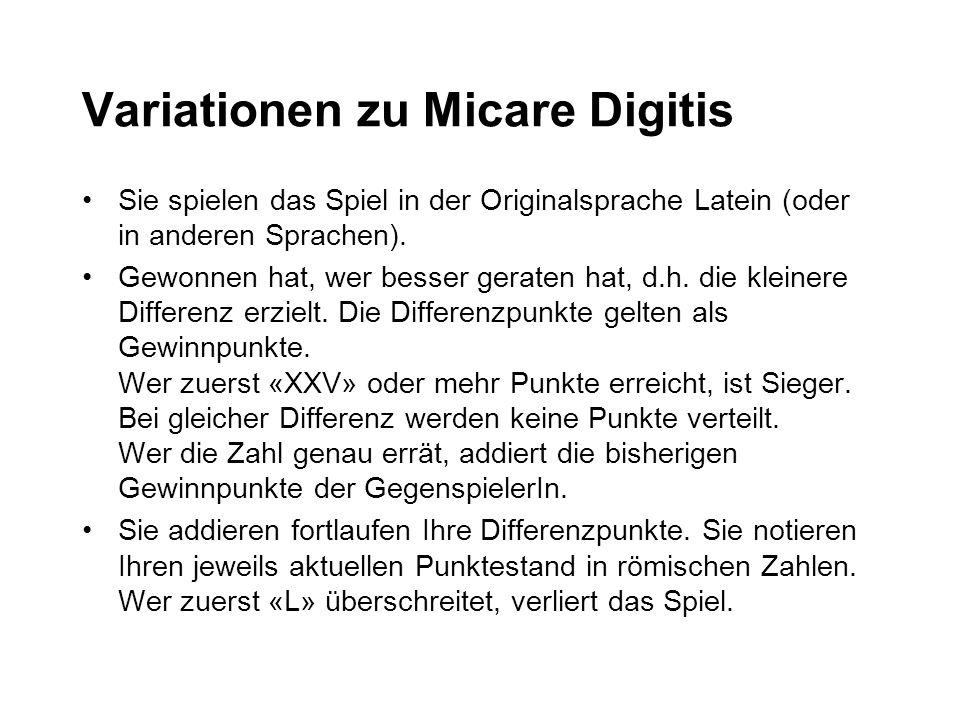 Variationen zu Micare Digitis