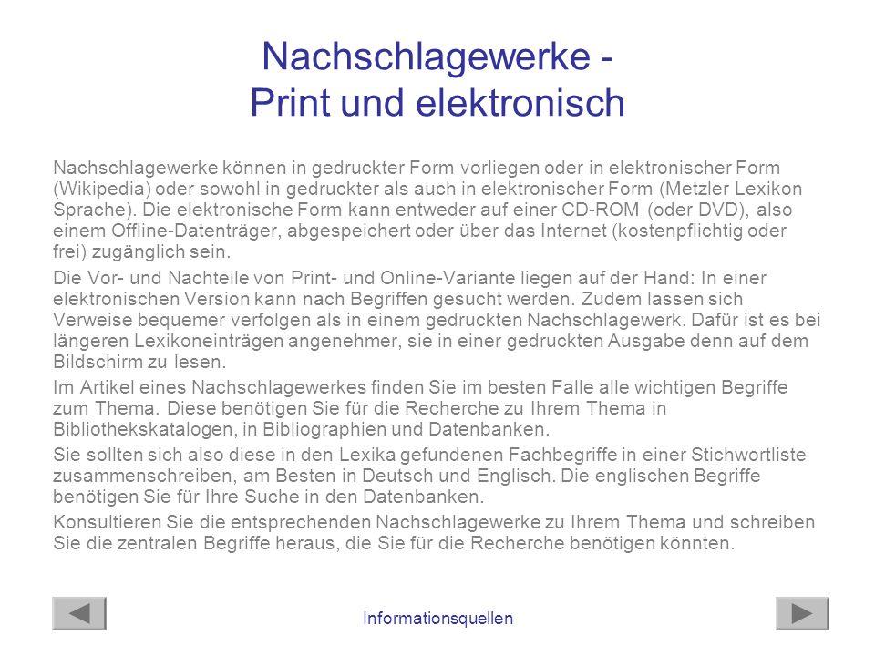 Nachschlagewerke - Print und elektronisch