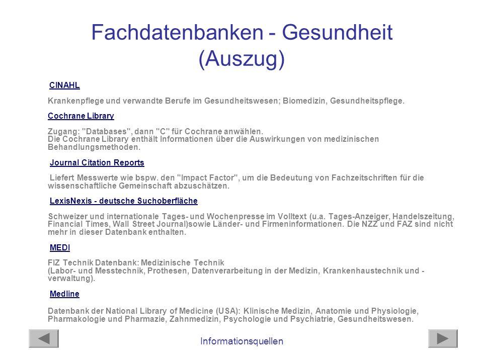 Fachdatenbanken - Gesundheit (Auszug)