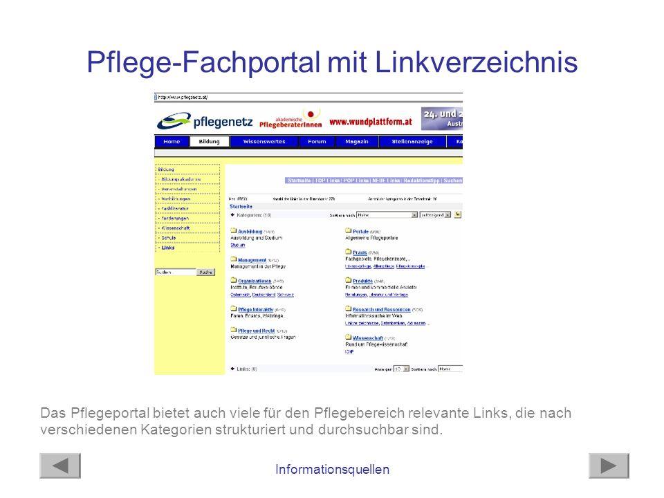 Pflege-Fachportal mit Linkverzeichnis