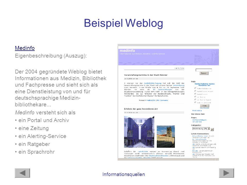 Beispiel Weblog Medinfo Eigenbeschreibung (Auszug):