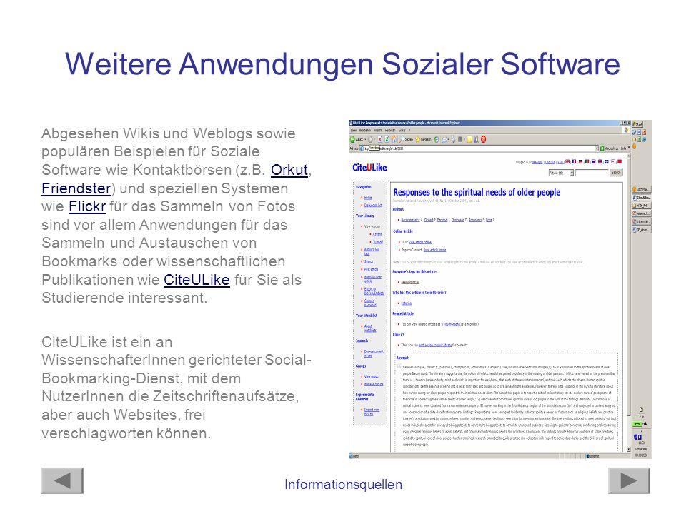 Weitere Anwendungen Sozialer Software