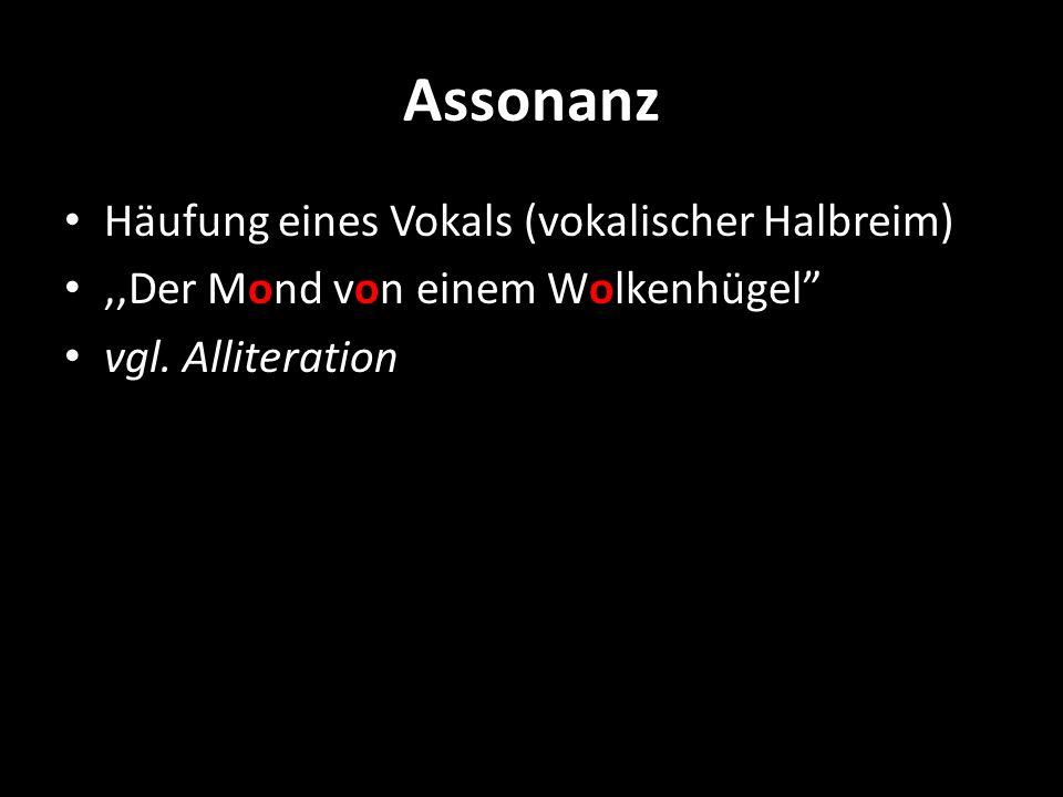 Assonanz Häufung eines Vokals (vokalischer Halbreim)