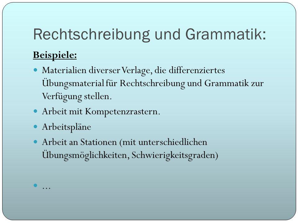 Rechtschreibung und Grammatik: