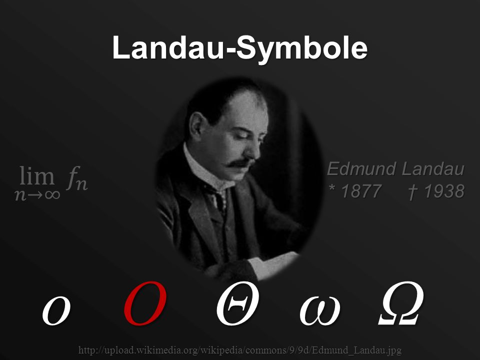 O o ω Ω Θ Landau-Symbole lim 𝑛→∞ 𝑓 𝑛 Edmund Landau * 1877 † 1938