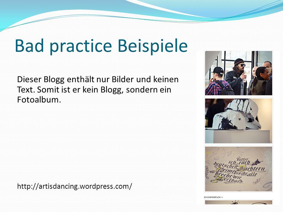 Bad practice Beispiele
