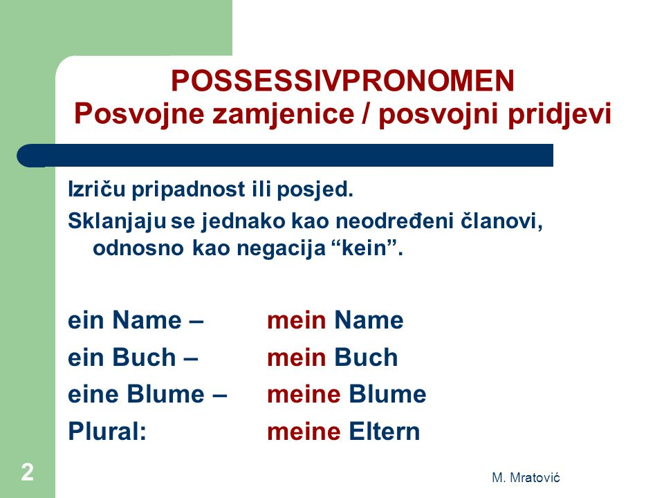 POSSESSIVPRONOMEN Posvojne zamjenice / posvojni pridjevi