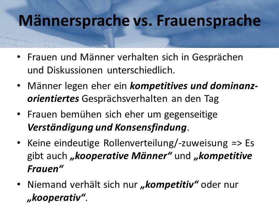 Männersprache vs. Frauensprache