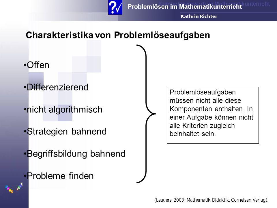 Charakteristika von Problemlöseaufgaben