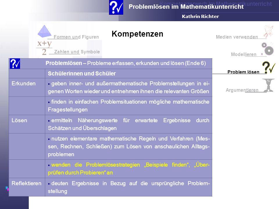 Kompetenzen Formen und Figuren. Medien verwenden. Zahlen und Symbole. Modellieren. Problemlösen – Probleme erfassen, erkunden und lösen (Ende 6)