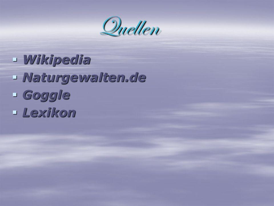 Quellen Wikipedia Naturgewalten.de Goggle Lexikon