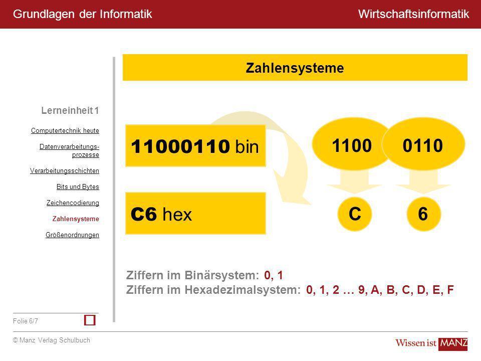 ü 1100 C 0110 6 11000110 bin C6 hex Zahlensysteme