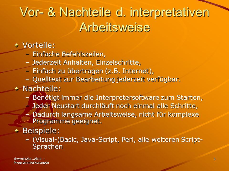 Vor- & Nachteile d. interpretativen Arbeitsweise
