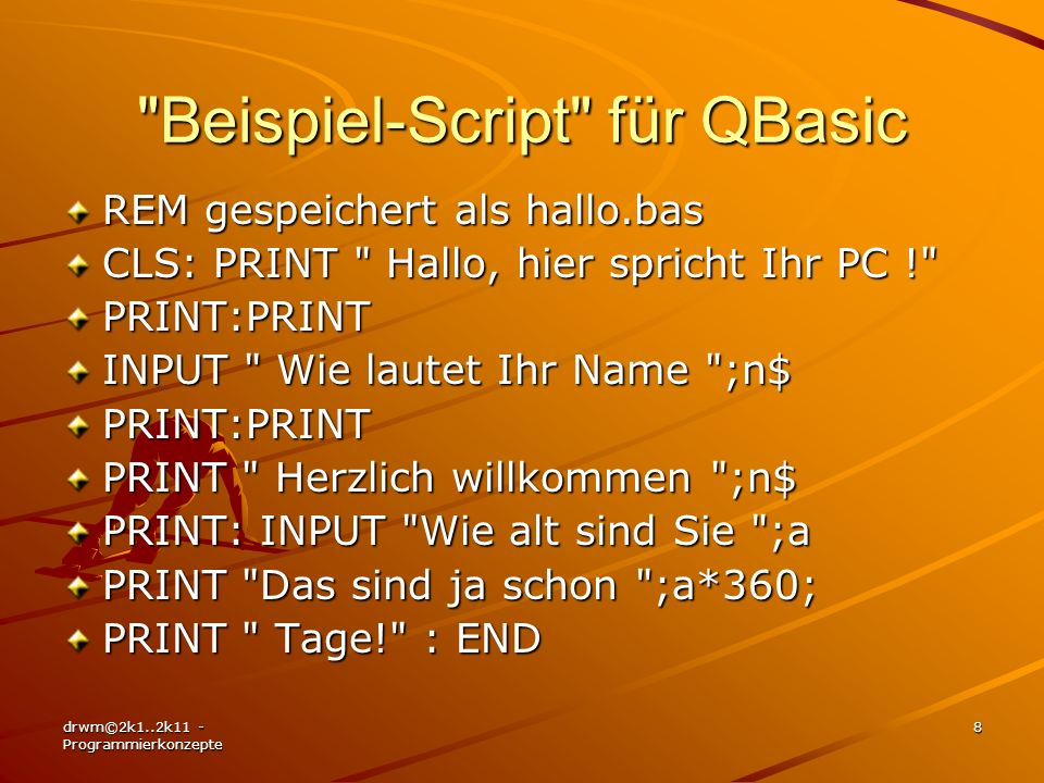 Beispiel-Script für QBasic