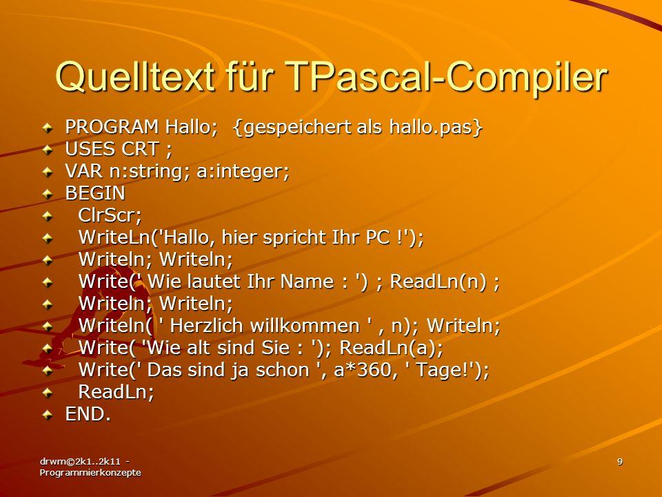 Quelltext für TPascal-Compiler
