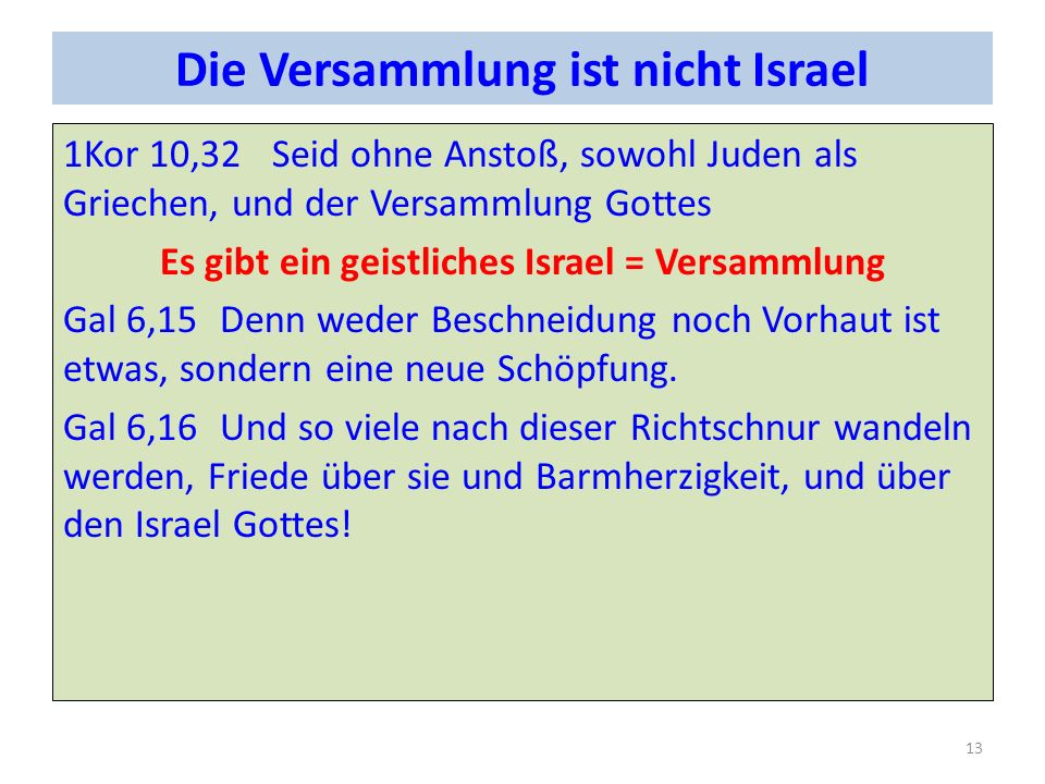 Die Versammlung ist nicht Israel