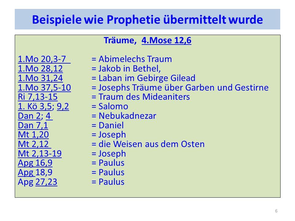 Beispiele wie Prophetie übermittelt wurde