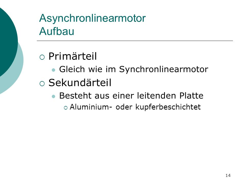 Asynchronlinearmotor Aufbau