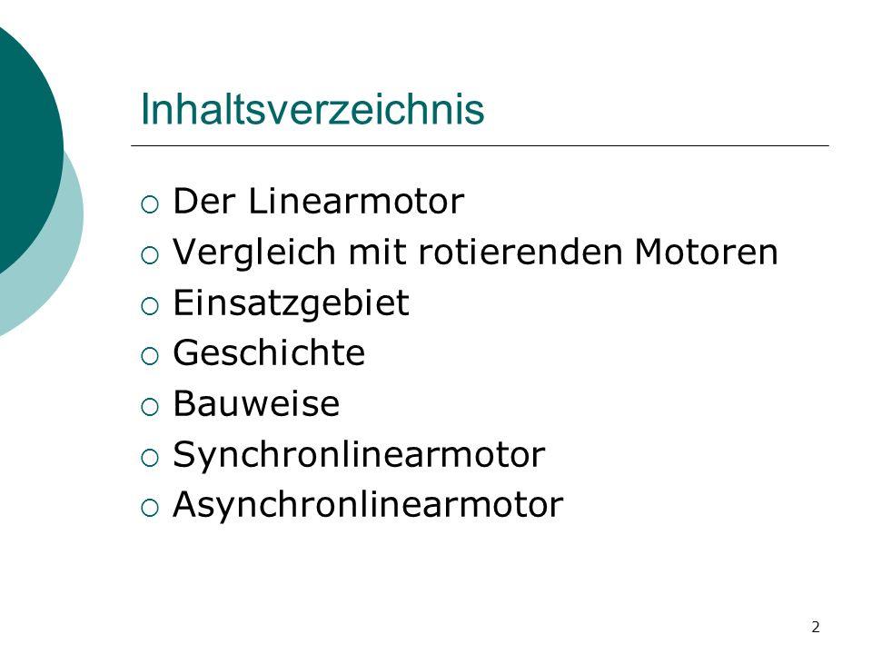 Inhaltsverzeichnis Der Linearmotor Vergleich mit rotierenden Motoren