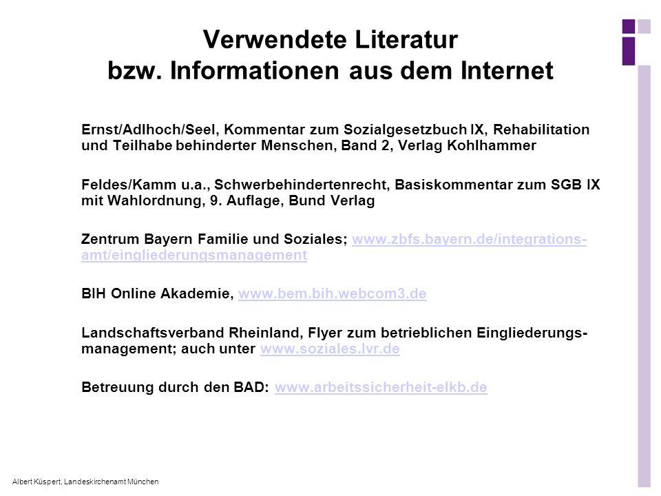 Verwendete Literatur bzw. Informationen aus dem Internet