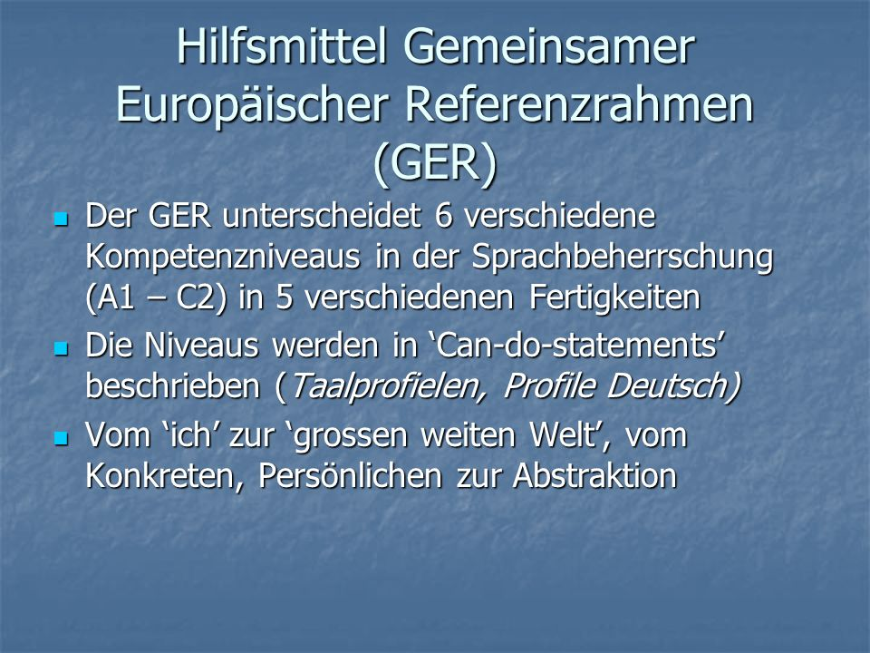 Hilfsmittel Gemeinsamer Europäischer Referenzrahmen (GER)