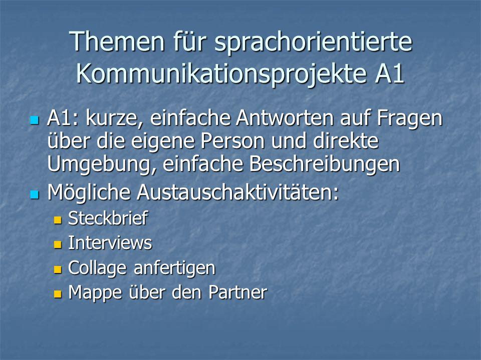 Themen für sprachorientierte Kommunikationsprojekte A1