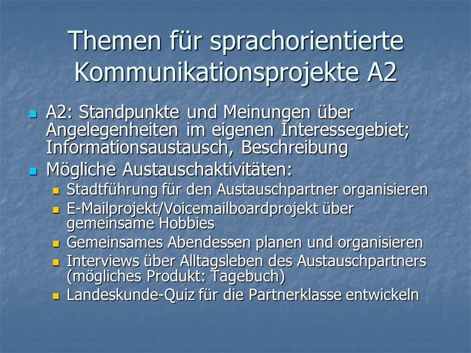 Themen für sprachorientierte Kommunikationsprojekte A2
