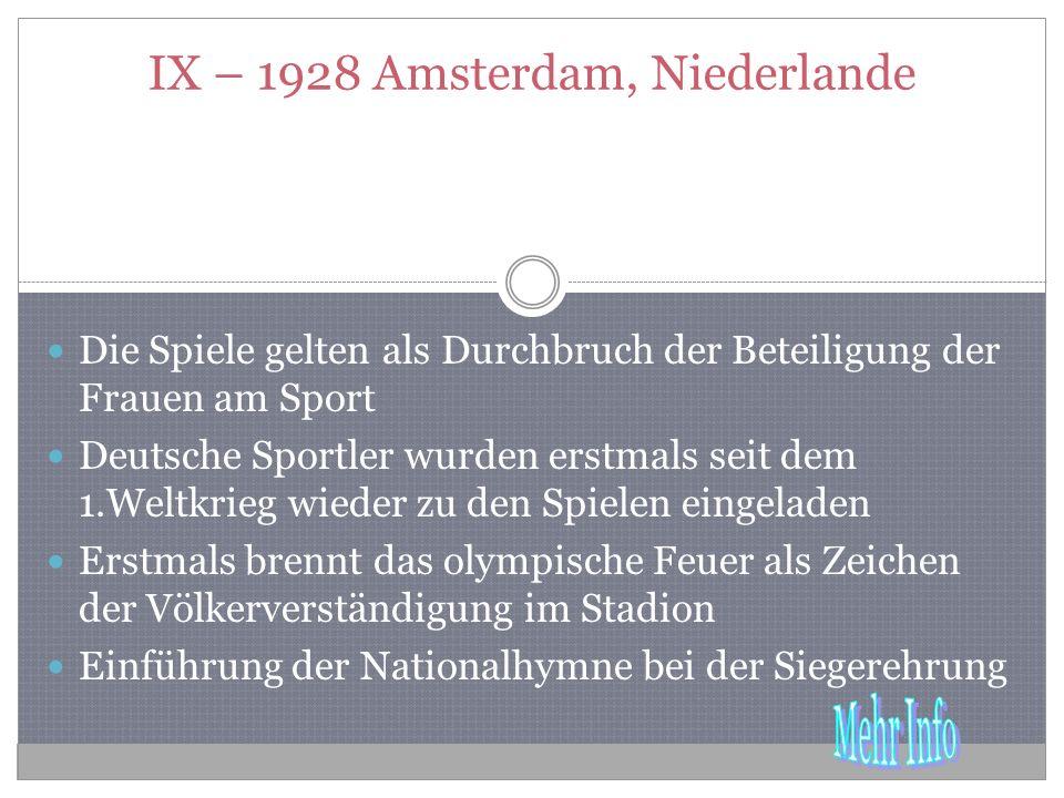 IX – 1928 Amsterdam, Niederlande