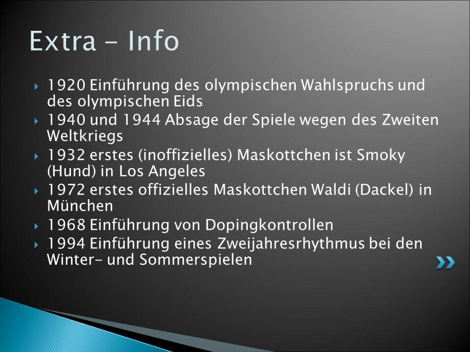 Extra - Info 1920 Einführung des olympischen Wahlspruchs und des olympischen Eids. 1940 und 1944 Absage der Spiele wegen des Zweiten Weltkriegs.