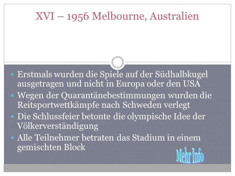 XVI – 1956 Melbourne, Australien