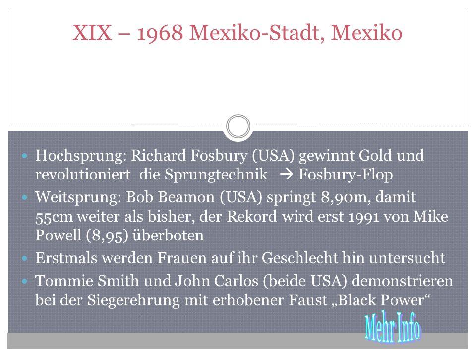 XIX – 1968 Mexiko-Stadt, Mexiko