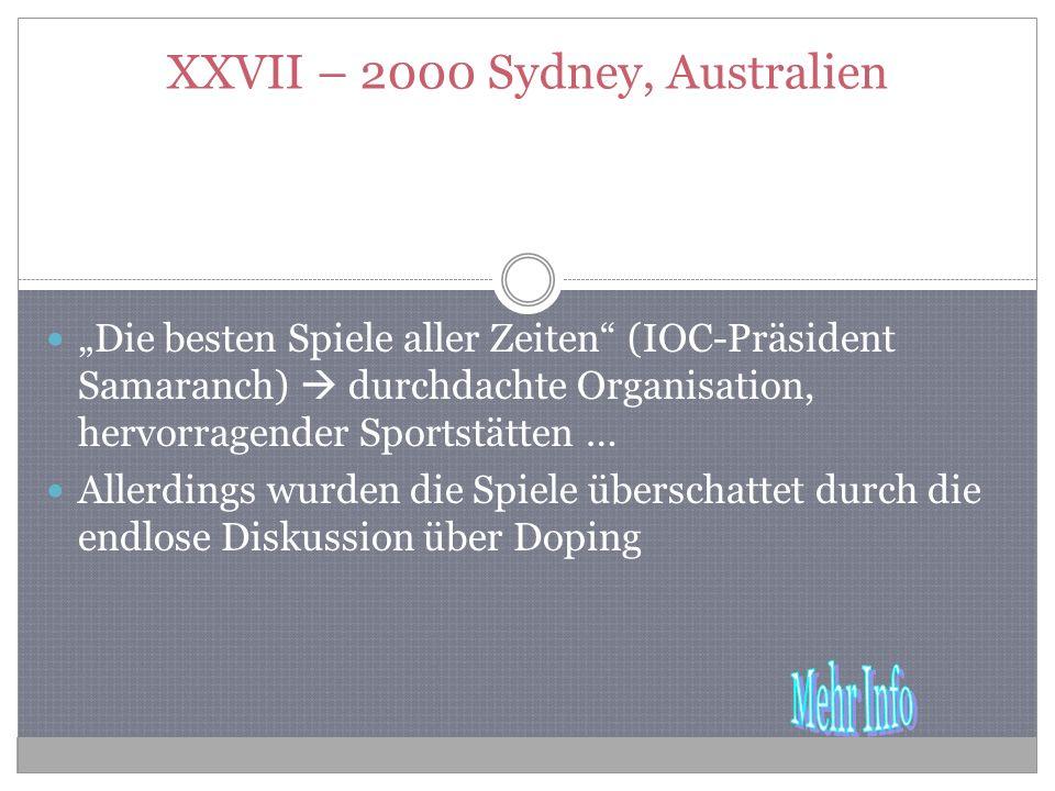 XXVII – 2000 Sydney, Australien