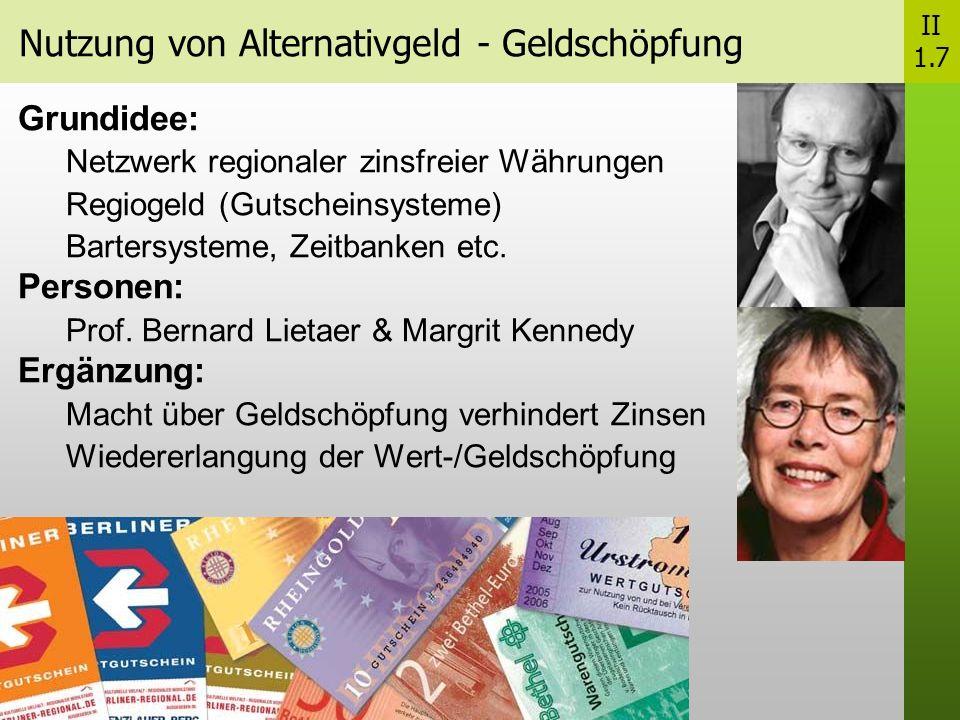 Nutzung von Alternativgeld - Geldschöpfung