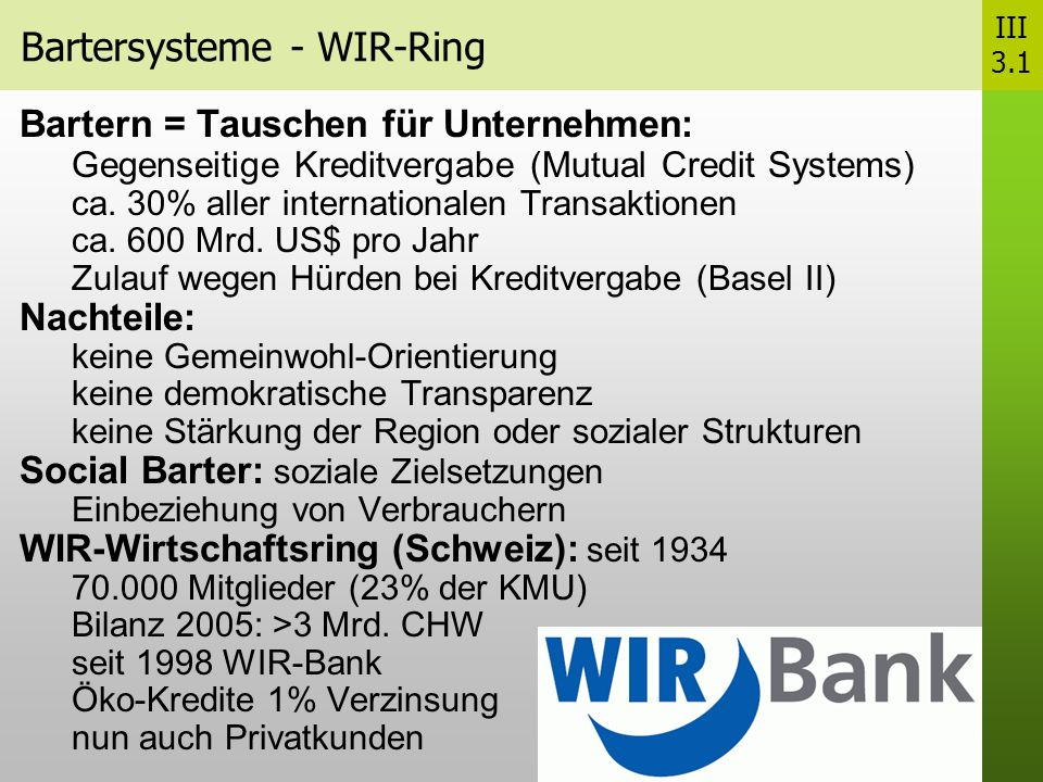 Bartersysteme - WIR-Ring