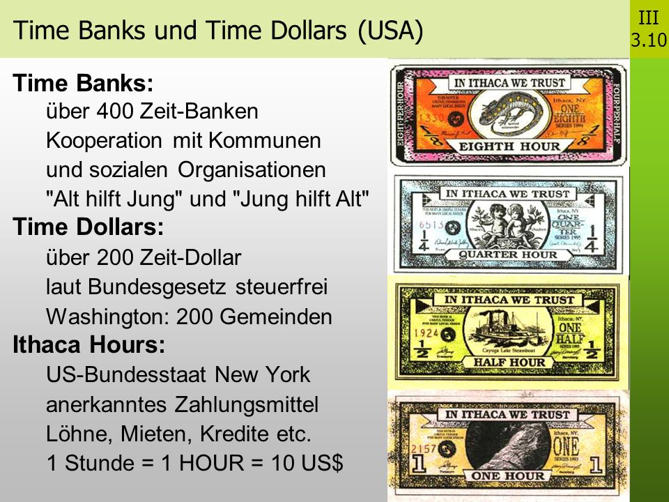 Time Banks und Time Dollars (USA)