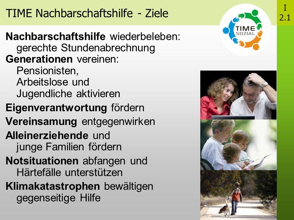 TIME Nachbarschaftshilfe - Ziele