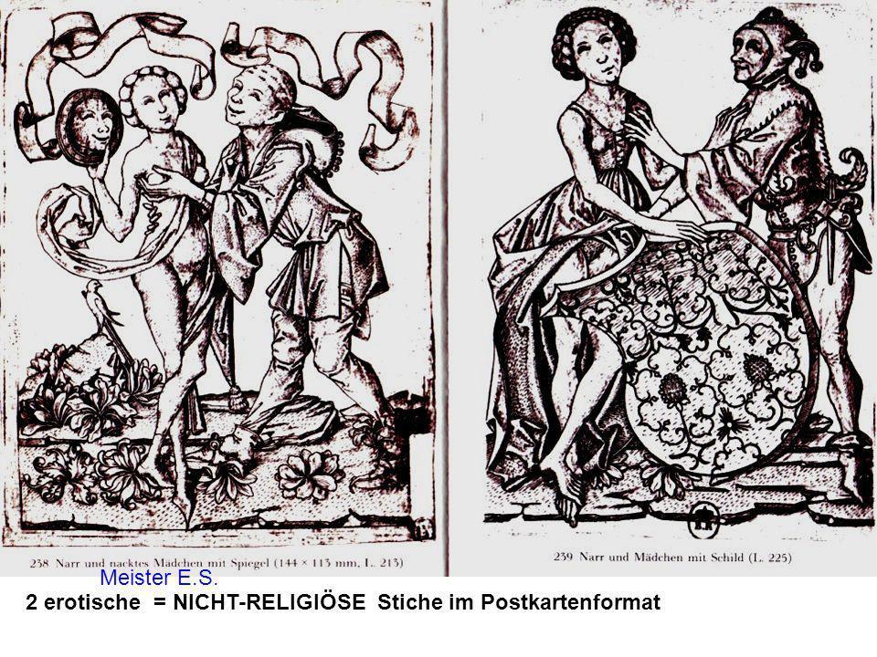 Meister E.S. 2 erotische = NICHT-RELIGIÖSE Stiche im Postkartenformat