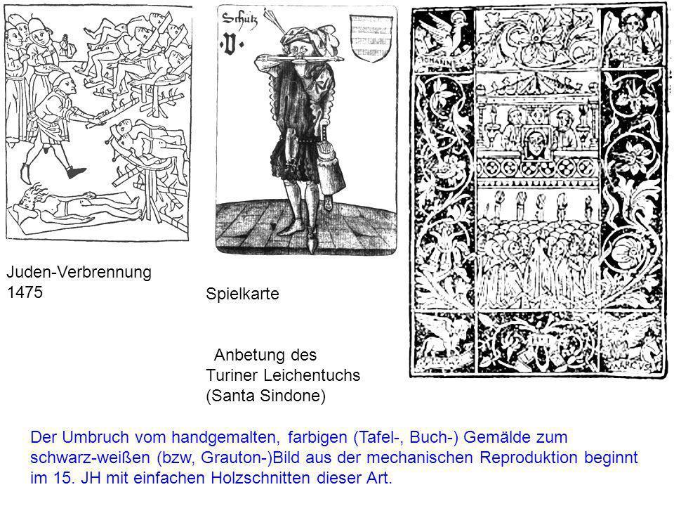 Juden-Verbrennung 1475 Spielkarte. Anbetung des Turiner Leichentuchs (Santa Sindone)