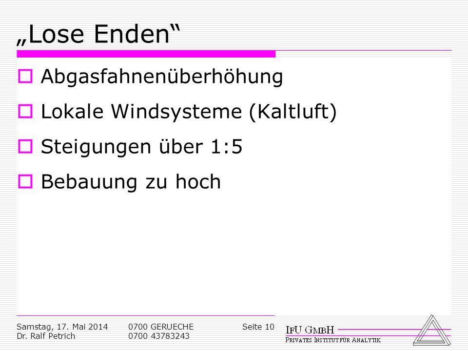 """Lose Enden Abgasfahnenüberhöhung Lokale Windsysteme (Kaltluft)"